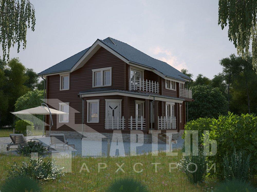 двухэтажный дом из профилированного бруса площадью свыше 200 кв. м. с  балконом, мансардой, террасой, эркером, проект Вариант 10.5 А фотография 4407
