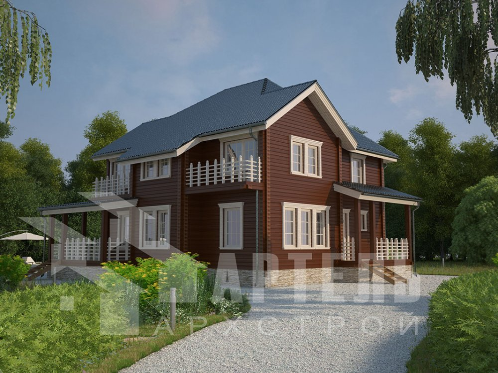 двухэтажный дом из профилированного бруса площадью свыше 200 кв. м. с  балконом, мансардой, террасой, эркером, проект Вариант 10.5 А фотография 4408