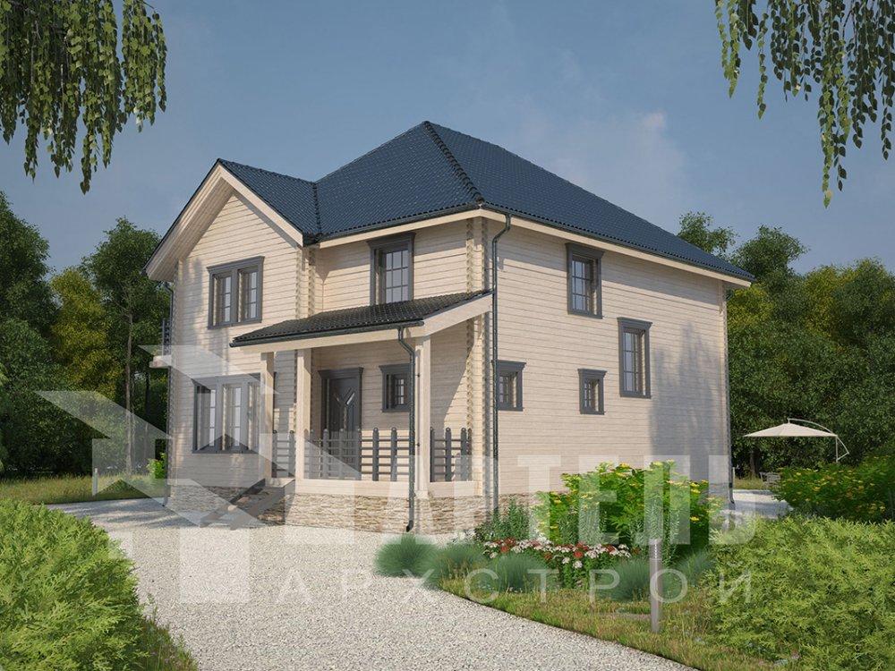 двухэтажный дом из профилированного бруса площадью свыше 200 кв. м. с  балконом, мансардой, террасой, эркером, проект Вариант 10.5 А фотография 4411