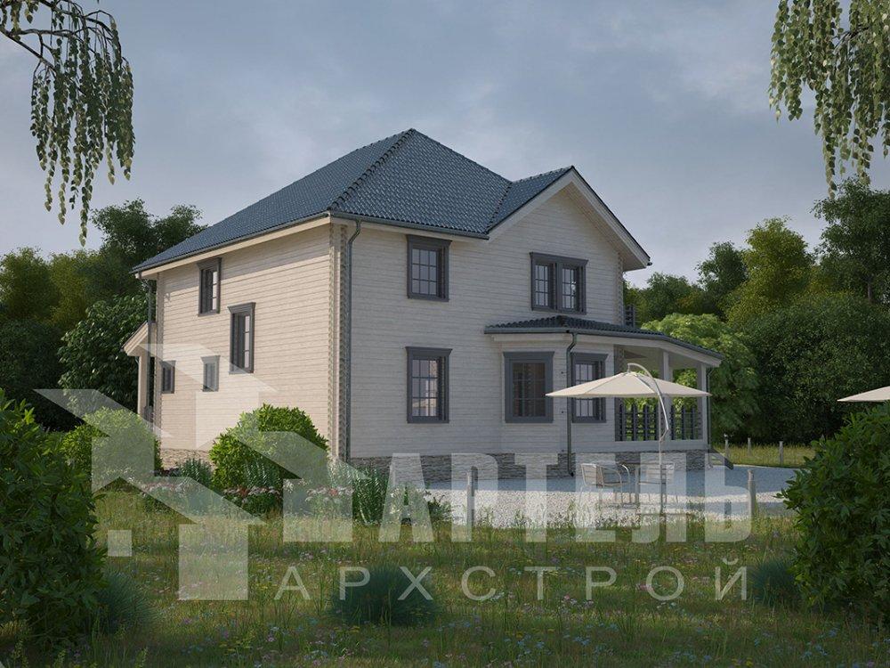 двухэтажный дом из профилированного бруса площадью свыше 200 кв. м. с  балконом, мансардой, террасой, эркером, проект Вариант 10.5 А фотография 4412