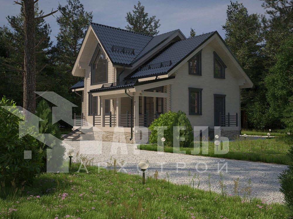 двухэтажный дом из профилированного бруса площадью от 150 до 200 кв. м. с  террасой, проект Вариант 10.5 В фотография 4285