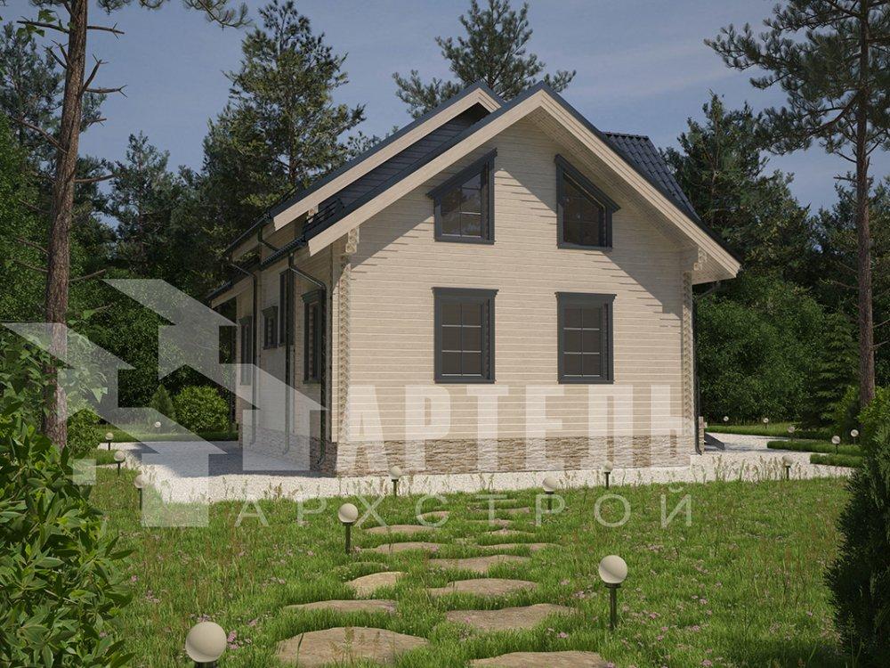 двухэтажный дом из профилированного бруса площадью от 150 до 200 кв. м. с  террасой, проект Вариант 10.5 В фотография 4288
