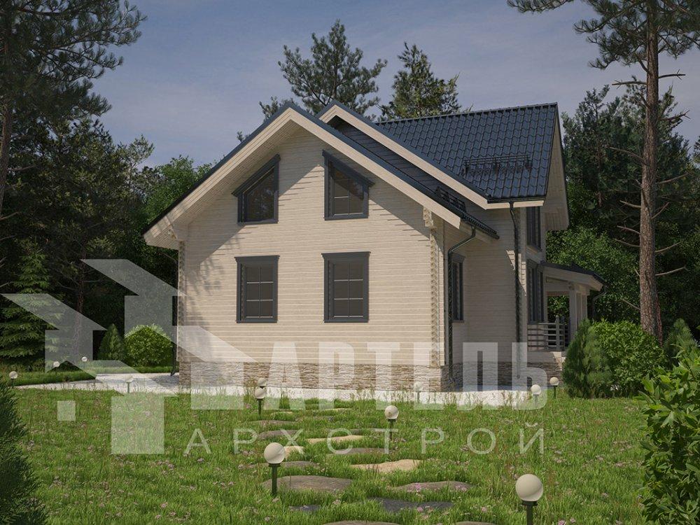 двухэтажный дом из профилированного бруса площадью от 150 до 200 кв. м. с  террасой, проект Вариант 10.5 В фотография 4289