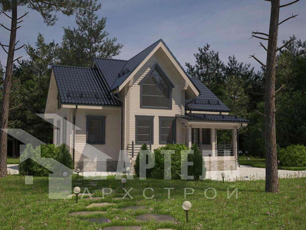 двухэтажный дом из профилированного бруса площадью от 150 до 200 кв. м. с  террасой, проект Вариант 10.5 В фотография 4290