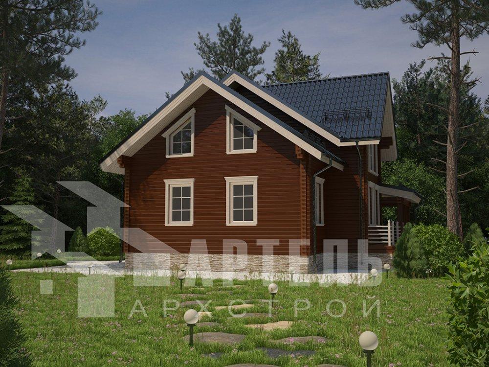двухэтажный дом из профилированного бруса площадью от 150 до 200 кв. м. с  террасой, проект Вариант 10.5 В фотография 4283