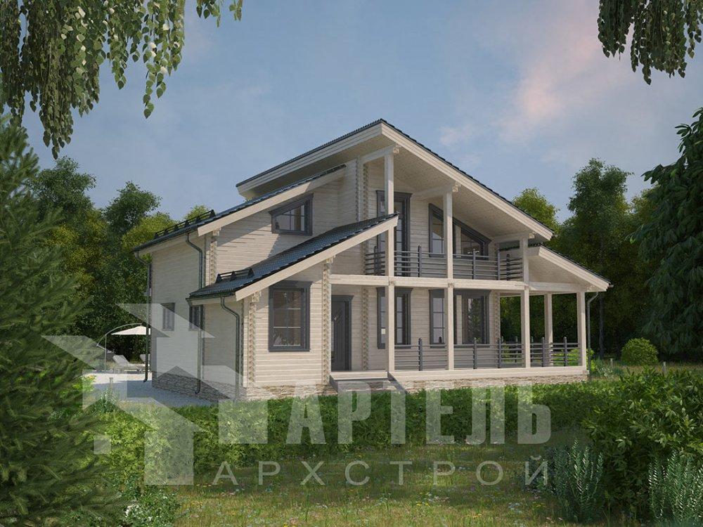 двухэтажный дом из профилированного бруса площадью от 150 до 200 кв. м. с  балконом, верандой, мансардой, террасой, проект Вариант 10.6 А фотография 4694