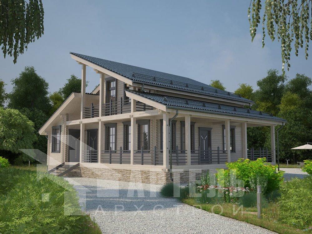 двухэтажный дом из профилированного бруса площадью от 150 до 200 кв. м. с  балконом, верандой, мансардой, террасой, проект Вариант 10.6 А фотография 4691