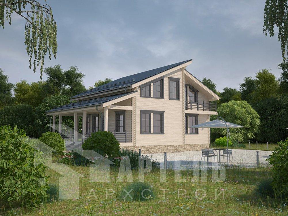 двухэтажный дом из профилированного бруса площадью от 150 до 200 кв. м. с  балконом, верандой, мансардой, террасой, проект Вариант 10.6 А фотография 4683