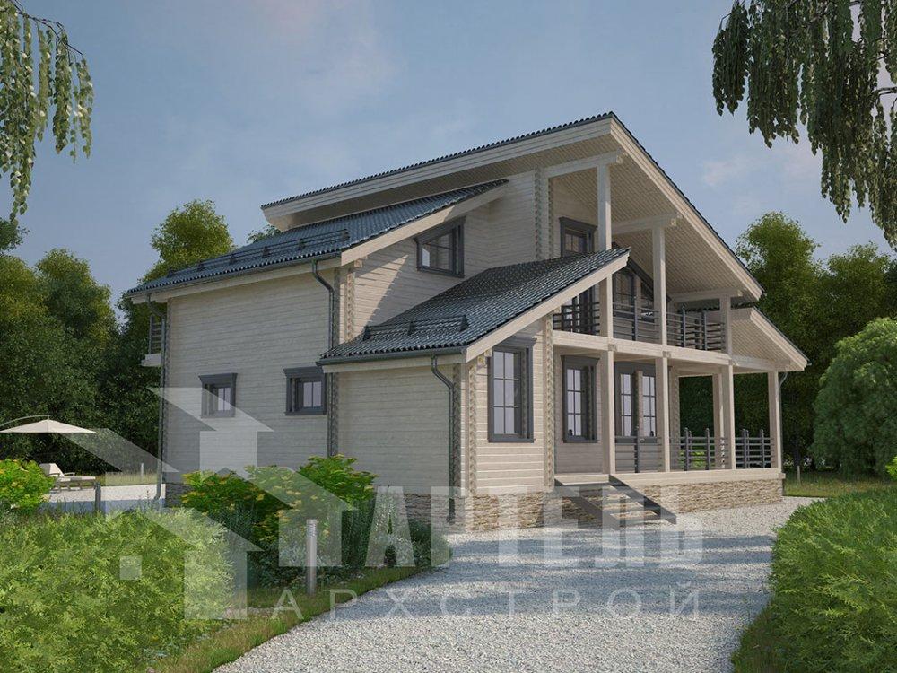 двухэтажный дом из профилированного бруса площадью от 150 до 200 кв. м. с  балконом, верандой, мансардой, террасой, проект Вариант 10.6 А фотография 4684