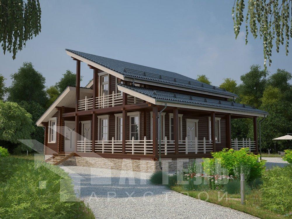 двухэтажный дом из профилированного бруса площадью от 150 до 200 кв. м. с  балконом, верандой, мансардой, террасой, проект Вариант 10.6 А фотография 4677