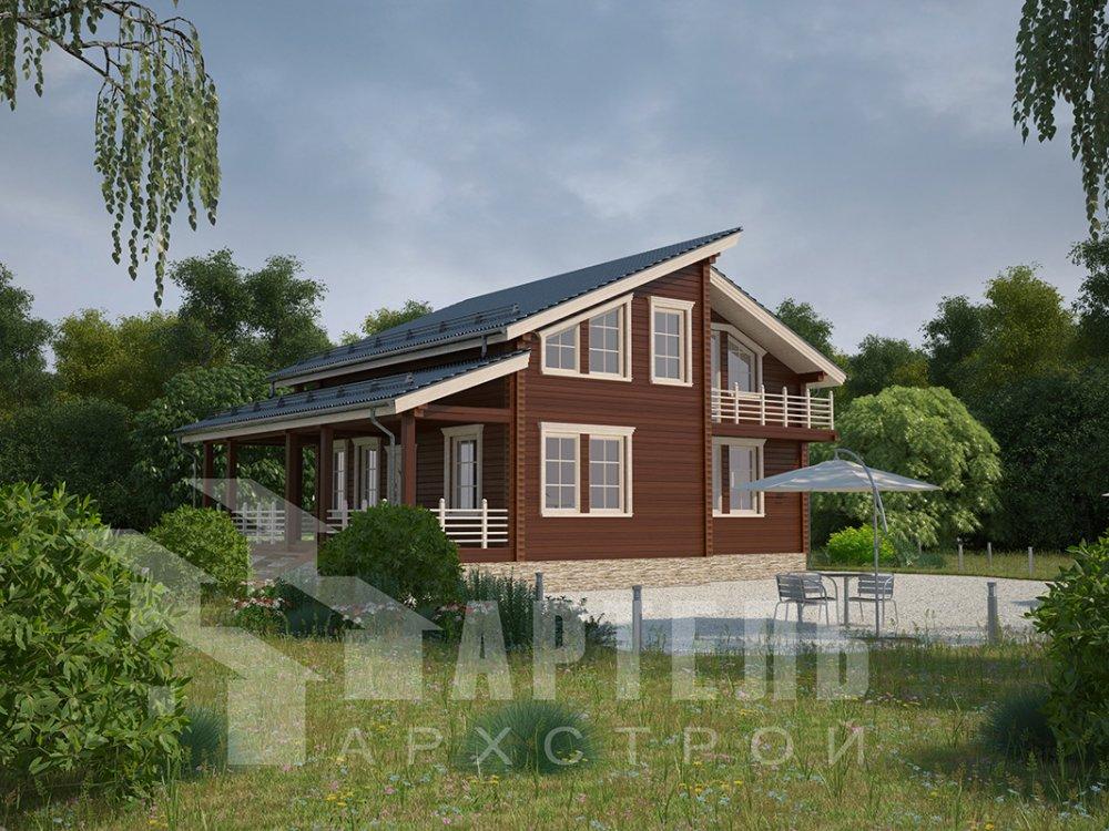 двухэтажный дом из профилированного бруса площадью от 150 до 200 кв. м. с  балконом, верандой, мансардой, террасой, проект Вариант 10.6 А фотография 4680