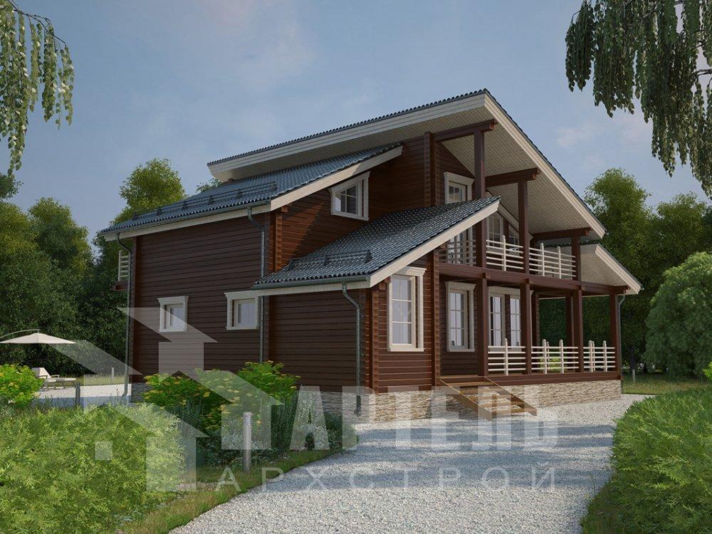 двухэтажный дом из профилированного бруса площадью от 150 до 200 кв. м. с  балконом, верандой, мансардой, террасой, проект Вариант 10.6 А фотография 4681