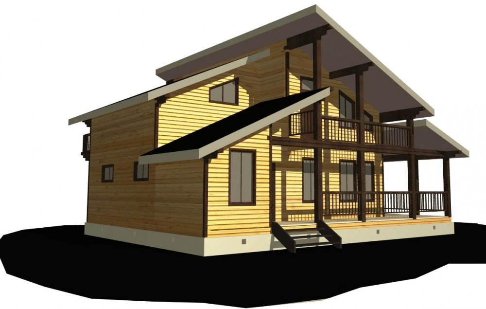 двухэтажный дом из профилированного бруса площадью от 150 до 200 кв. м. с  балконом, верандой, мансардой, террасой, проект Вариант 10.6 А фотография 4688