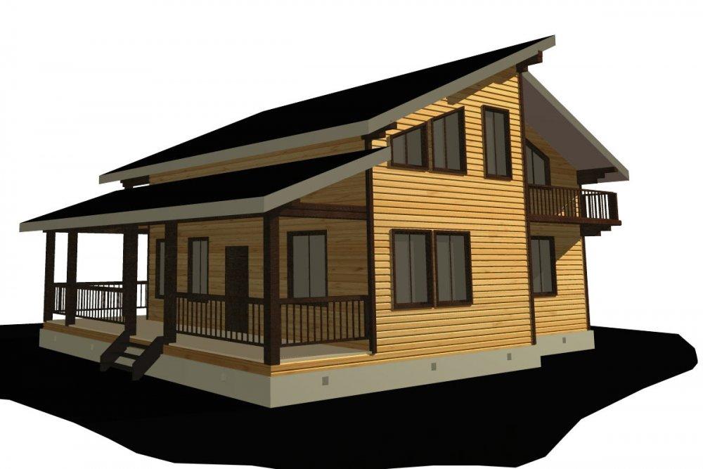двухэтажный дом из профилированного бруса площадью от 150 до 200 кв. м. с  балконом, верандой, мансардой, террасой, проект Вариант 10.6 А фотография 4690