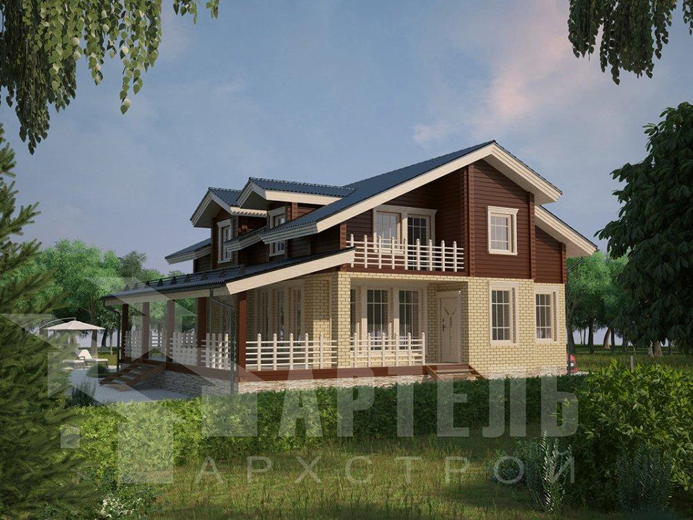 двухэтажный дом из профилированного бруса площадью от 150 до 200 кв. м. с  балконом, террасой, эркером, проект Вариант 10.8 А фотография 4389