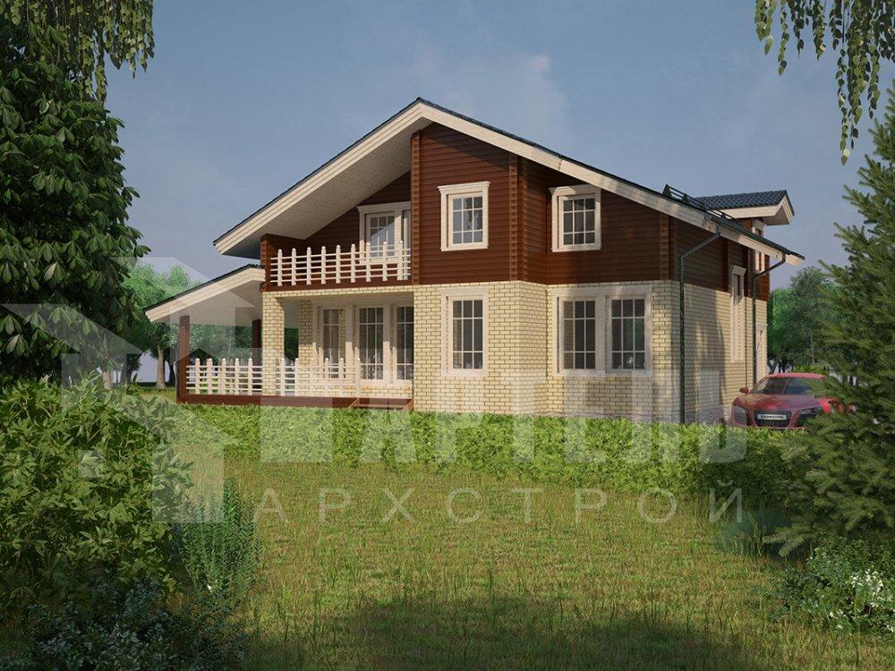 двухэтажный дом из профилированного бруса площадью от 150 до 200 кв. м. с  балконом, террасой, эркером, проект Вариант 10.8 А фотография 4388