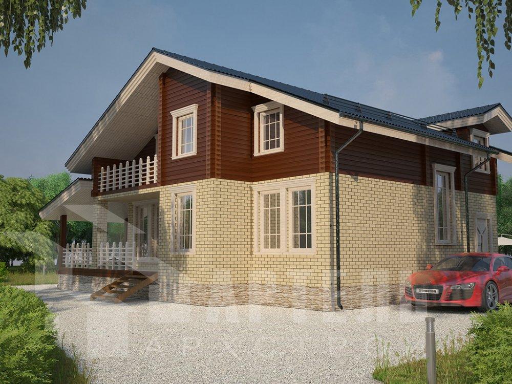 двухэтажный дом из профилированного бруса площадью от 150 до 200 кв. м. с  балконом, террасой, эркером, проект Вариант 10.8 А фотография 4387
