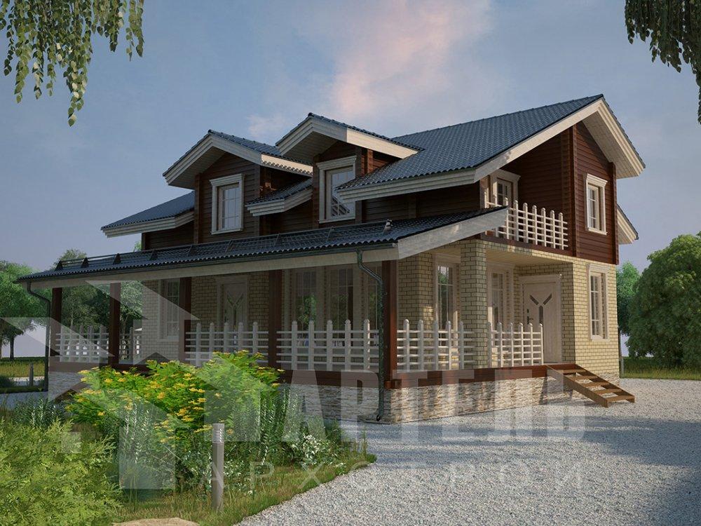 двухэтажный дом из профилированного бруса площадью от 150 до 200 кв. м. с  балконом, террасой, эркером, проект Вариант 10.8 А фотография 4384