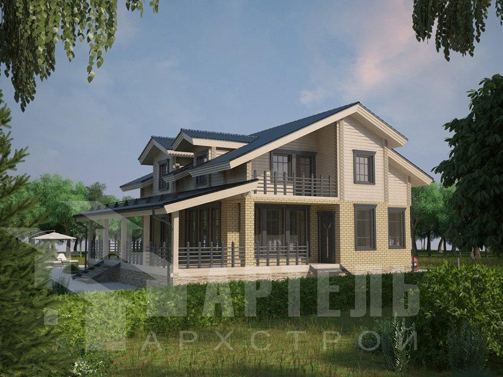 двухэтажный дом из профилированного бруса площадью от 150 до 200 кв. м. с  балконом, террасой, эркером, проект Вариант 10.8 А фотография 4383