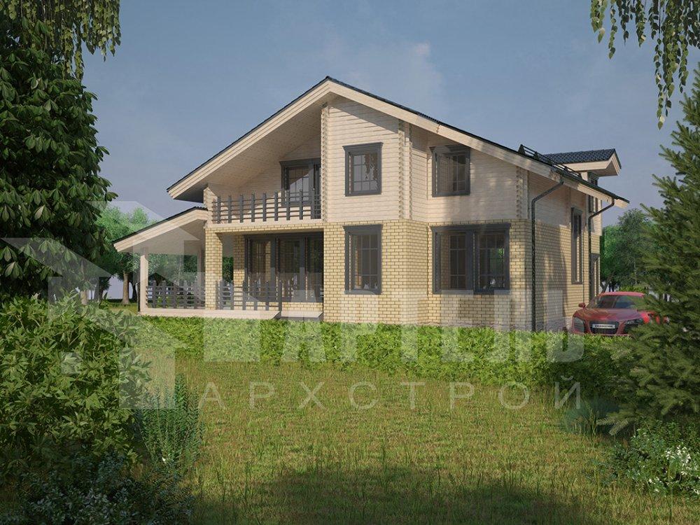 двухэтажный дом из профилированного бруса площадью от 150 до 200 кв. м. с  балконом, террасой, эркером, проект Вариант 10.8 А фотография 4382
