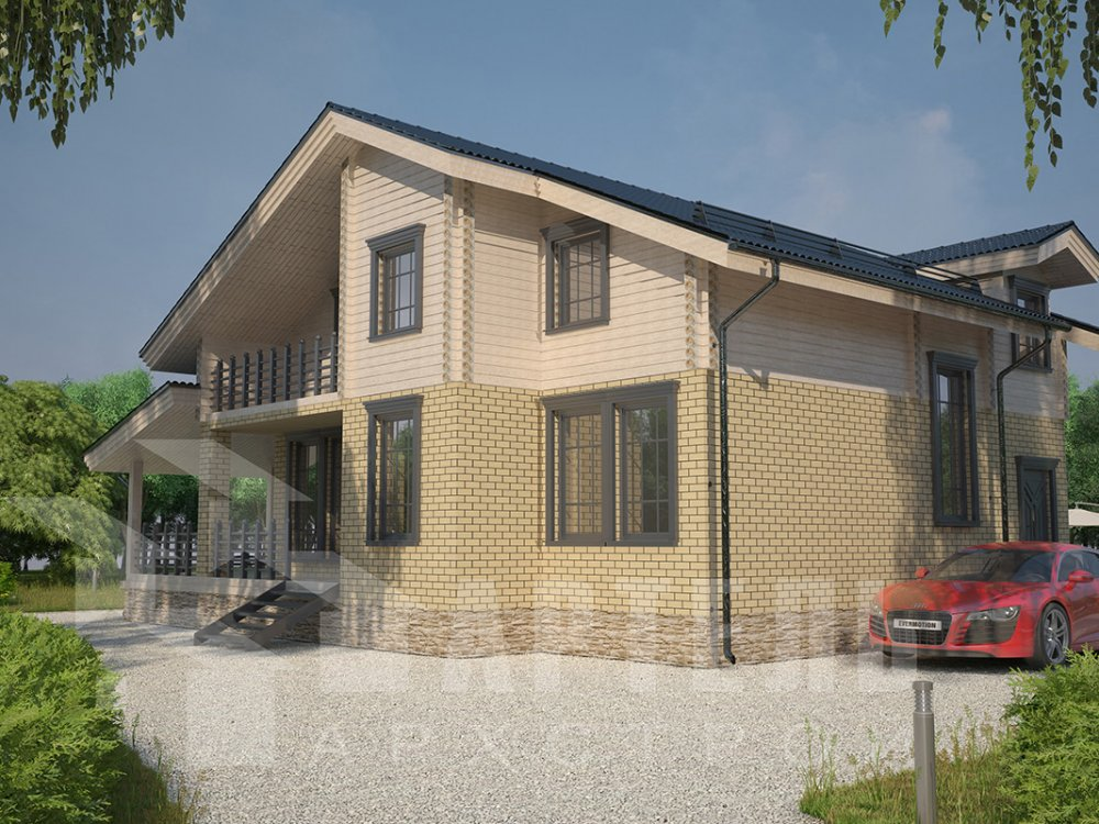 двухэтажный дом из профилированного бруса площадью от 150 до 200 кв. м. с  балконом, террасой, эркером, проект Вариант 10.8 А фотография 4381