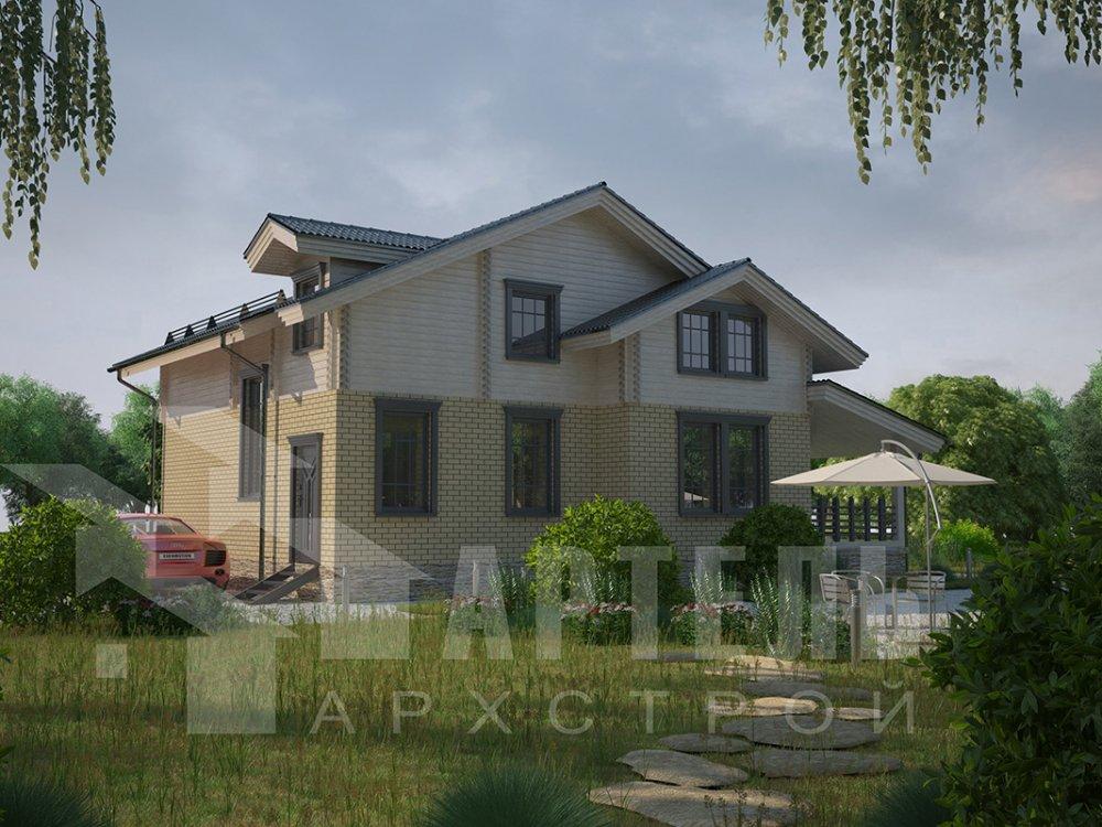 двухэтажный дом из профилированного бруса площадью от 150 до 200 кв. м. с  балконом, террасой, эркером, проект Вариант 10.8 А фотография 4380