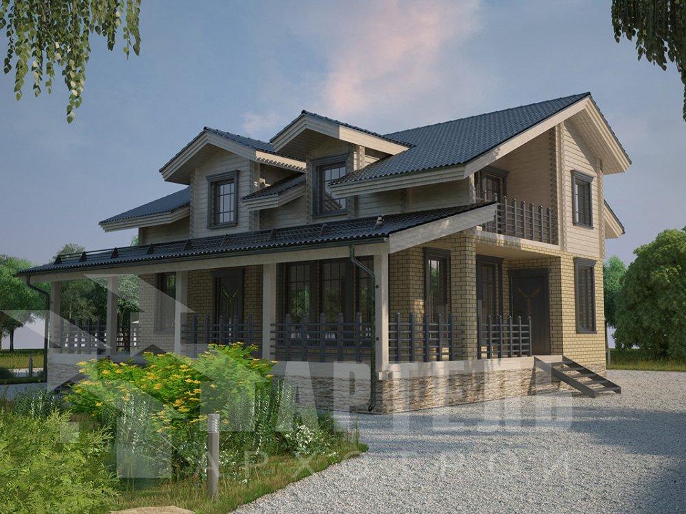 двухэтажный дом из профилированного бруса площадью от 150 до 200 кв. м. с  балконом, террасой, эркером, проект Вариант 10.8 А фотография 4378