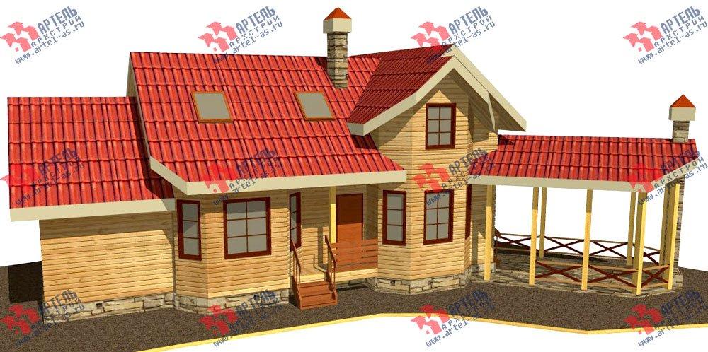 двухэтажный дом из профилированного бруса площадью от 100 до 150 кв. м. с  мансардой, террасой, эркером, проект Вариант 6.7 Б фотография 2479