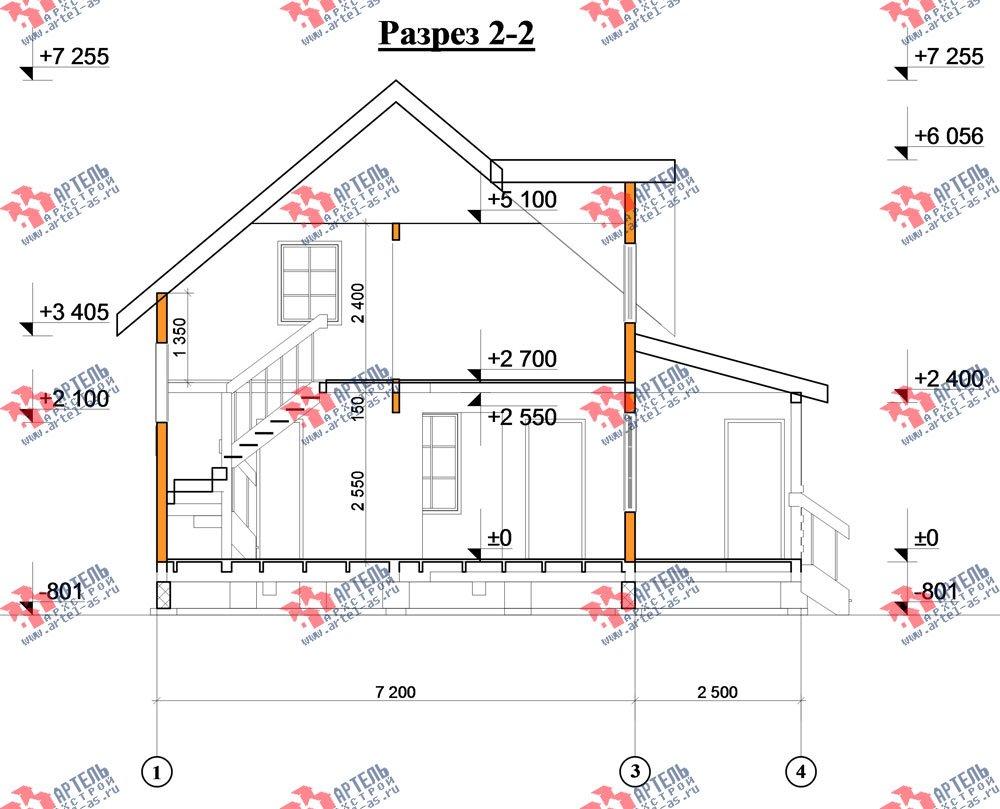 двухэтажный дом из профилированного бруса площадью от 100 до 150 кв. м. с  террасой, проект Вариант 7.2 А фотография 2665