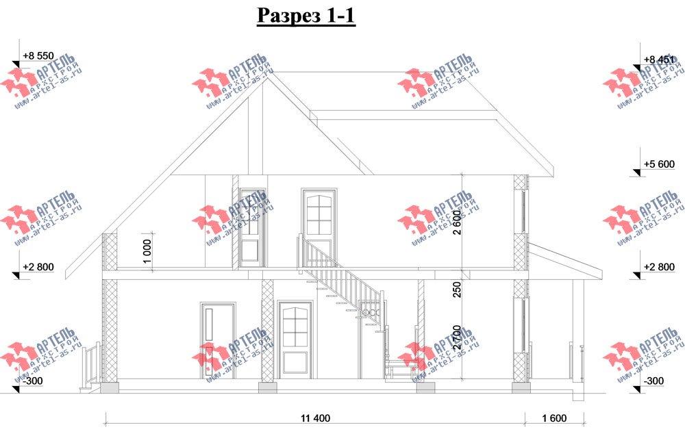 двухэтажный дом из камня площадью свыше 200 кв. м. с  верандой, проект Вариант 22 фотография 2700
