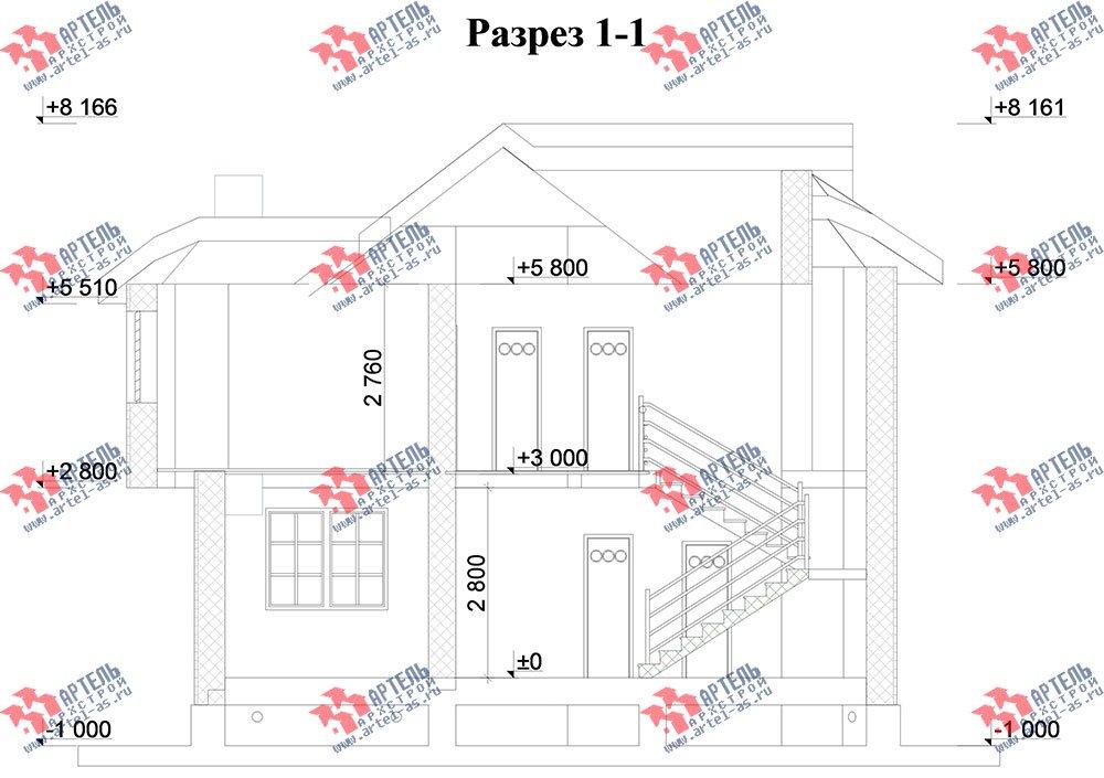 двухэтажный дом из камня площадью от 150 до 200 кв. м. с  балконом, эркером, проект Вариант 25 фотография 2775