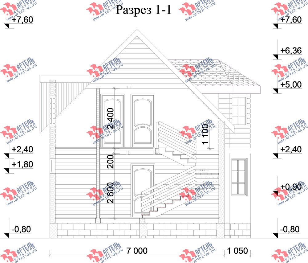 двухэтажный дом из профилированного бруса камерной сушки площадью от 100 до 150 кв. м. с  мансардой, эркером, проект Вариант 7 фотография 2806