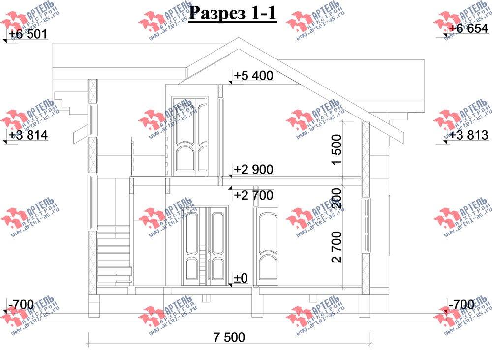 двухэтажный дом из профилированного бруса камерной сушки площадью от 100 до 150 кв. м. с  балконом, террасой, эркером, проект Вариант 9 фотография 3000
