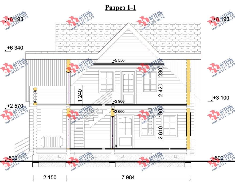 двухэтажный дом из оцилиндрованного бревна площадью свыше 200 кв. м. с  балконом, террасой, проект Вариант 3 фотография 3053