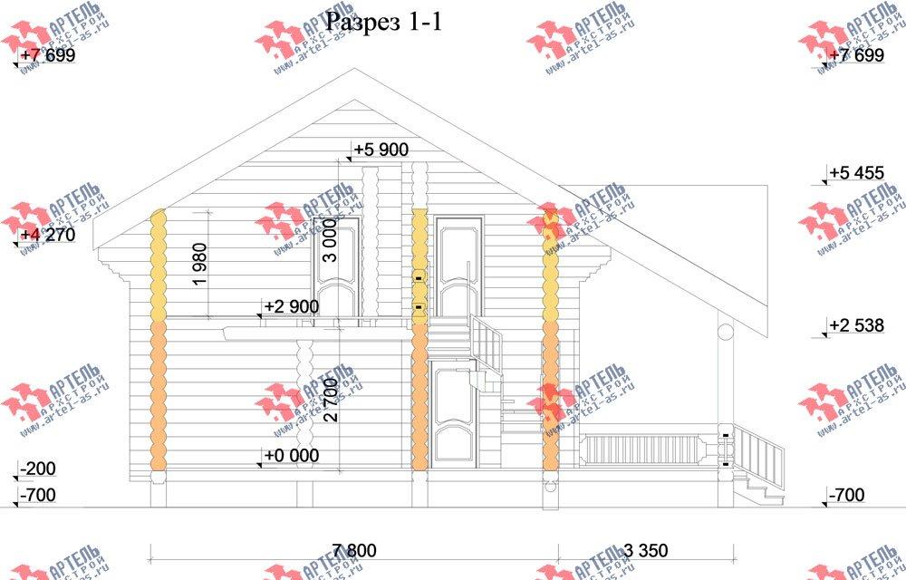 двухэтажный дом из оцилиндрованного бревна площадью от 100 до 150 кв. м. с  террасой, проект Вариант 4 фотография 3064