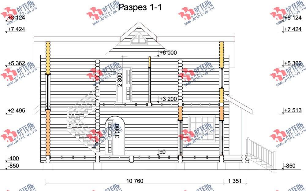 двухэтажный дом из оцилиндрованного бревна площадью от 100 до 150 кв. м. с  террасой, проект Вариант 6 фотография 3099