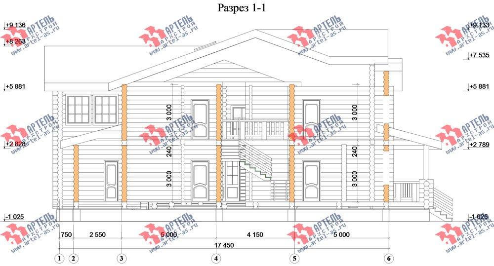 двухэтажный дом из оцилиндрованного бревна площадью свыше 200 кв. м. с  террасой, проект Вариант 8 фотография 3122