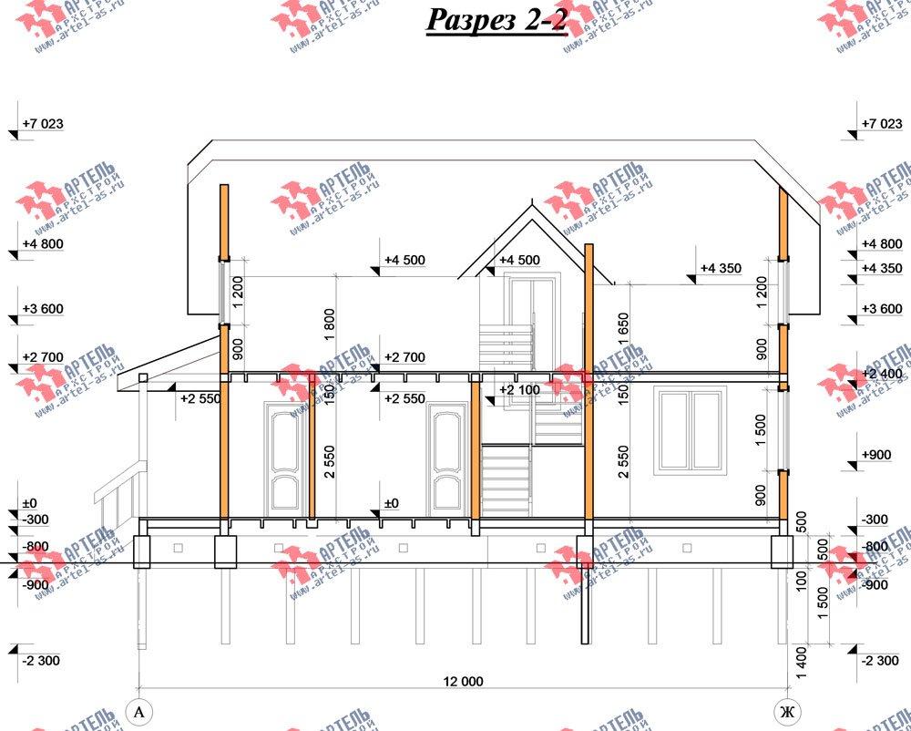 двухэтажный дом из бруса площадью от 150 до 200 кв. м. с  эркером, проект Вариант 11.2 В фотография 3164