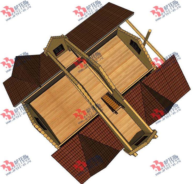 трёхэтажный дом из оцилиндрованного бревна площадью свыше 200 кв. м. с  балконом, террасой, проект Вариант 5 фотография 3080