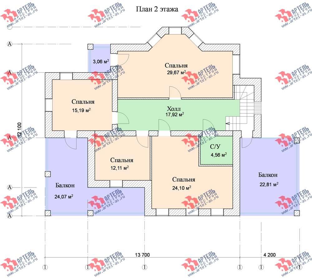 двухэтажный дом из камня площадью свыше 200 кв. м. с  балконом, террасой, эркером, проект Вариант 11 фотография 557