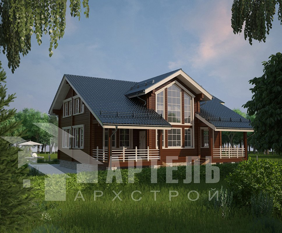 двухэтажный дом из профилированного бруса площадью свыше 200 кв. м. с  балконом, мансардой, террасой, эркером, проект Вариант 11 К фотография 4222