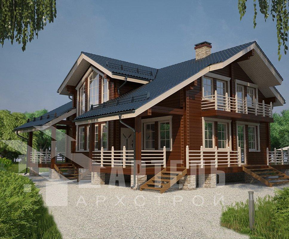 двухэтажный дом из профилированного бруса площадью свыше 200 кв. м. с  балконом, мансардой, террасой, эркером, проект Вариант 11 К фотография 4220