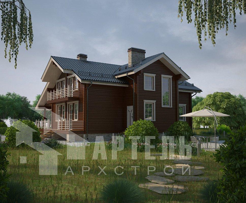 двухэтажный дом из профилированного бруса площадью свыше 200 кв. м. с  балконом, мансардой, террасой, эркером, проект Вариант 11 К фотография 4221
