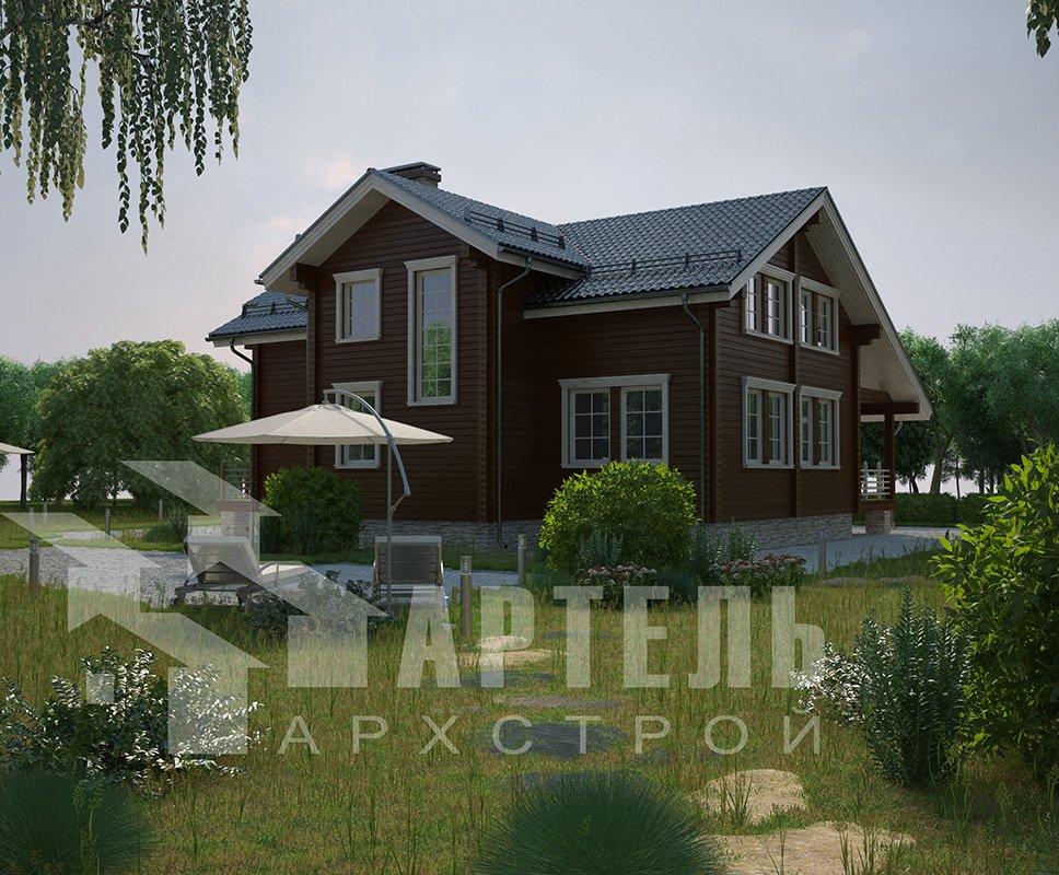 двухэтажный дом из профилированного бруса площадью свыше 200 кв. м. с  балконом, мансардой, террасой, эркером, проект Вариант 11 К фотография 4223