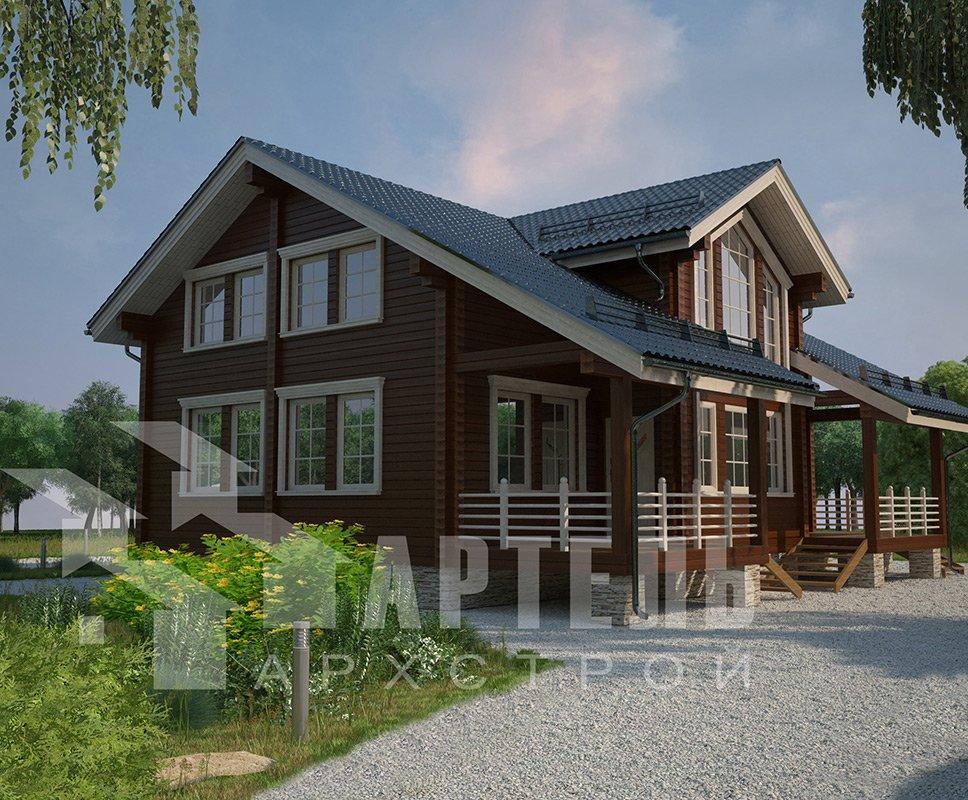 двухэтажный дом из профилированного бруса площадью свыше 200 кв. м. с  балконом, мансардой, террасой, эркером, проект Вариант 11 К фотография 4224