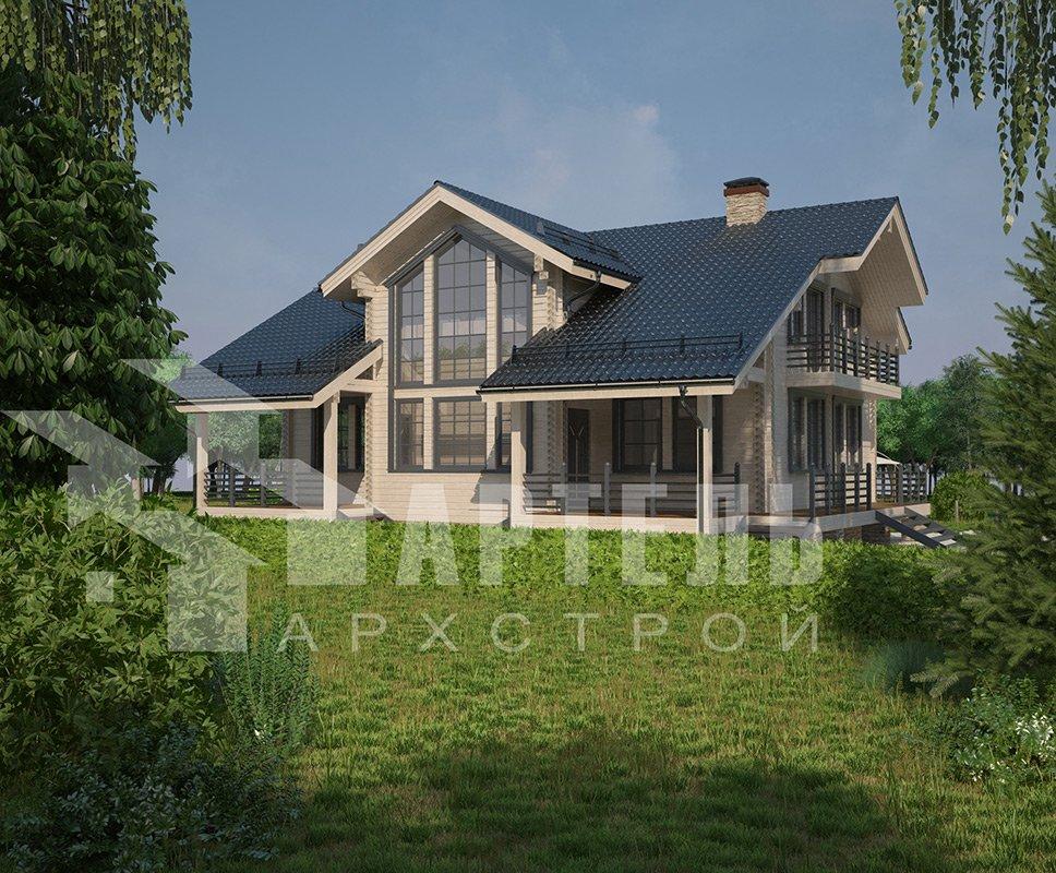 двухэтажный дом из профилированного бруса площадью свыше 200 кв. м. с  балконом, мансардой, террасой, эркером, проект Вариант 11 К фотография 4226