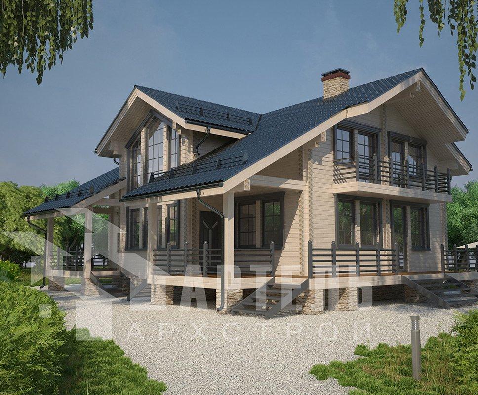 двухэтажный дом из профилированного бруса площадью свыше 200 кв. м. с  балконом, мансардой, террасой, эркером, проект Вариант 11 К фотография 4227