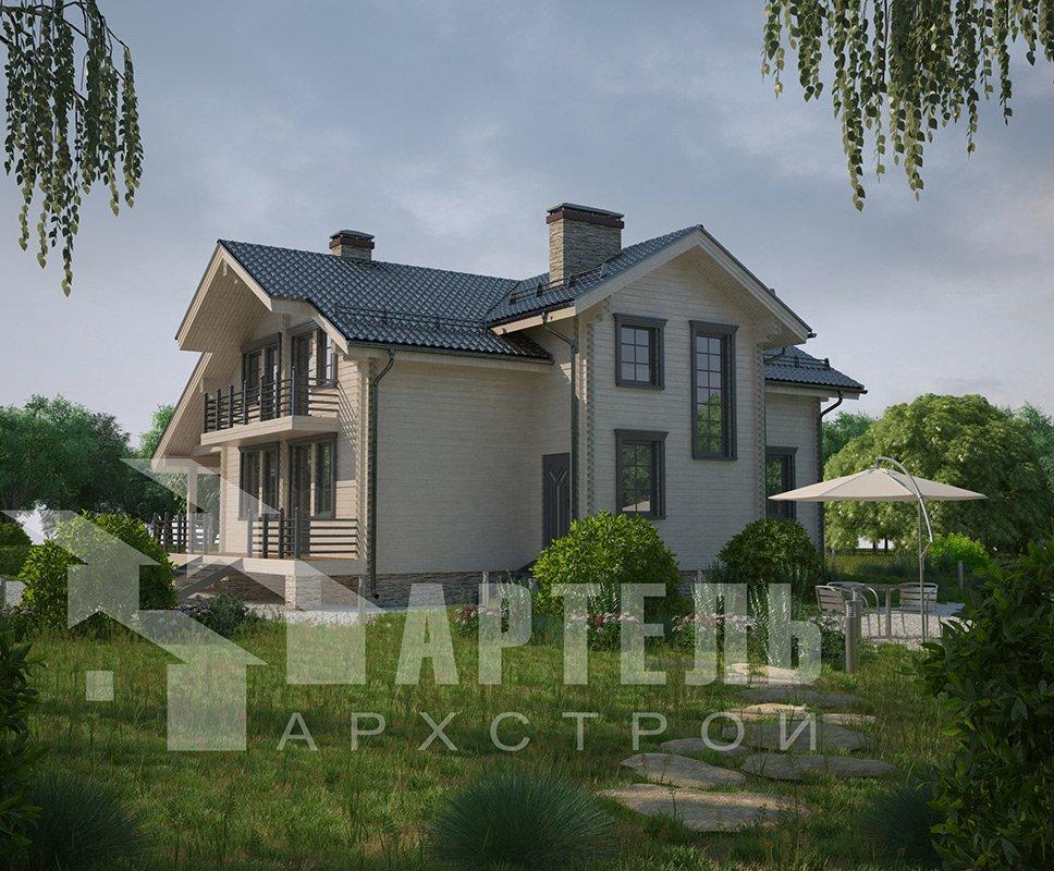 двухэтажный дом из профилированного бруса площадью свыше 200 кв. м. с  балконом, мансардой, террасой, эркером, проект Вариант 11 К фотография 4228