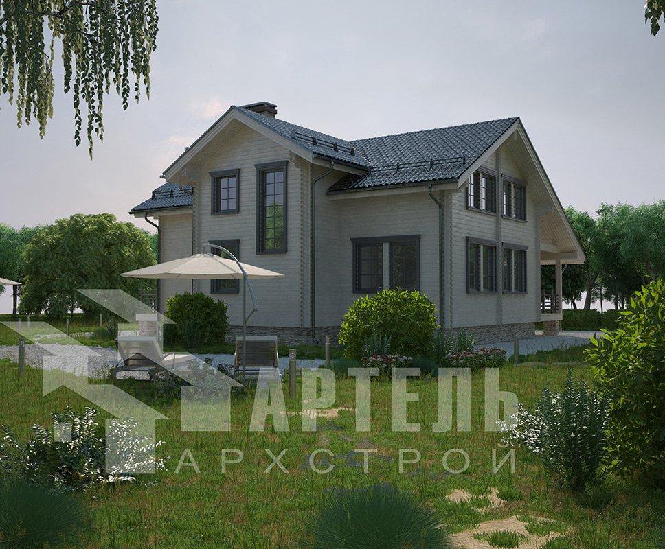 двухэтажный дом из профилированного бруса площадью свыше 200 кв. м. с  балконом, мансардой, террасой, эркером, проект Вариант 11 К фотография 4229