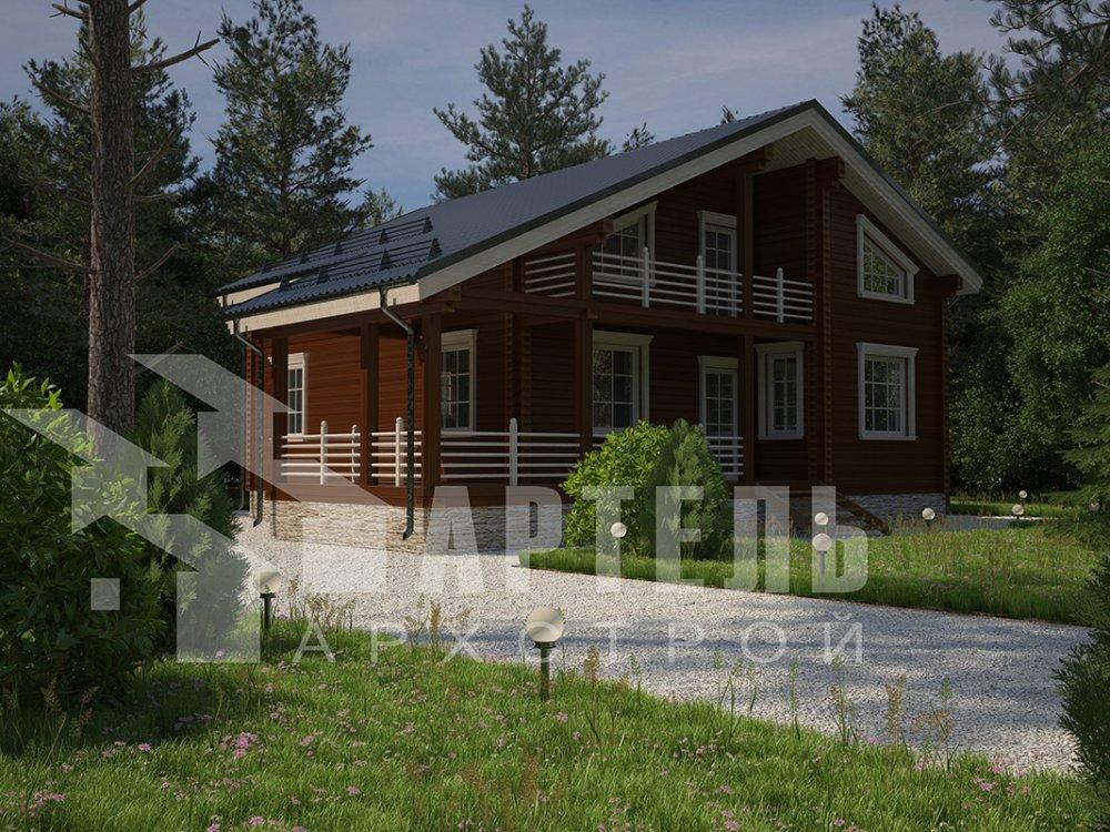 двухэтажный дом из профилированного бруса площадью свыше 200 кв. м. с  балконом, мансардой, террасой, проект Вариант 11 П фотография 4231